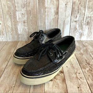 Sperry Top Sider Black Sparkles Glitter Boat Shoes